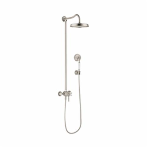 Hansgrohe 16570821 Axor Montreux Shower Pipe, 10 in Dia Head, 1 Shower Head, 2.5 gpm, Rain Spray, Slide Bar: No, Brushed Nickel