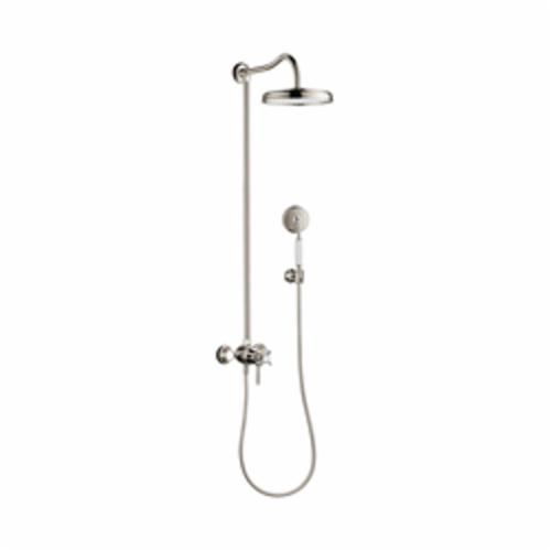 Hansgrohe 16570831 Axor Montreux Shower Pipe, 10 in Dia Head, 1 Shower Head, 2.5 gpm, Rain Spray, Slide Bar: No, Polished Nickel