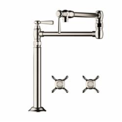 Hansgrohe 16860001 Axor Montreux Pot Filler Stand, 2.5 gpm, Chrome Plated, 2 Handles, Residential