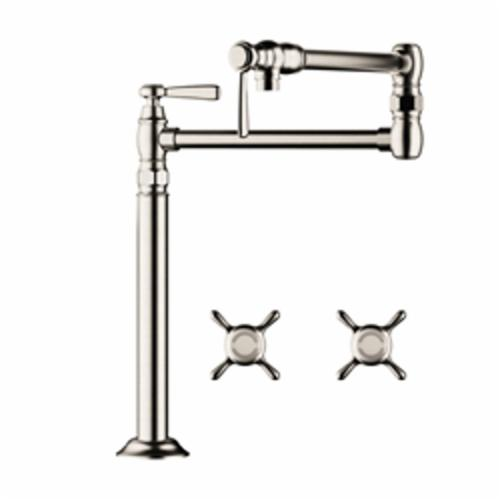 Hansgrohe 16860831 Axor Montreux Pot Filler Stand, 2.5 gpm, Polished Nickel, 2 Handles, Residential