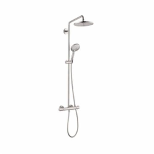 Hansgrohe 27115821 Raindance S 240 Shower Pipe, 9-1/4 in Dia Head, 1 Shower Head, 2.5 gpm, Rain Spray, Slide Bar: No, Brushed Nickel