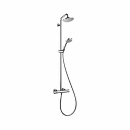 Hansgrohe 27169001 Croma Shower Pipe, 3 Shower Head, 2 gpm, Full/Pulsating Massage/Intense Turbo Spray, Slide Bar: No, Chrome Plated, Import