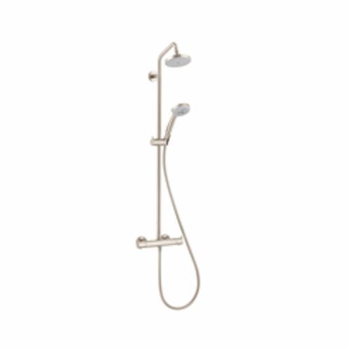 Hansgrohe 27169821 Croma Shower Pipe, 3 Shower Head, 2 gpm, Full/Pulsating Massage/Intense Turbo Spray, Slide Bar: No, Brushed Nickel, Import