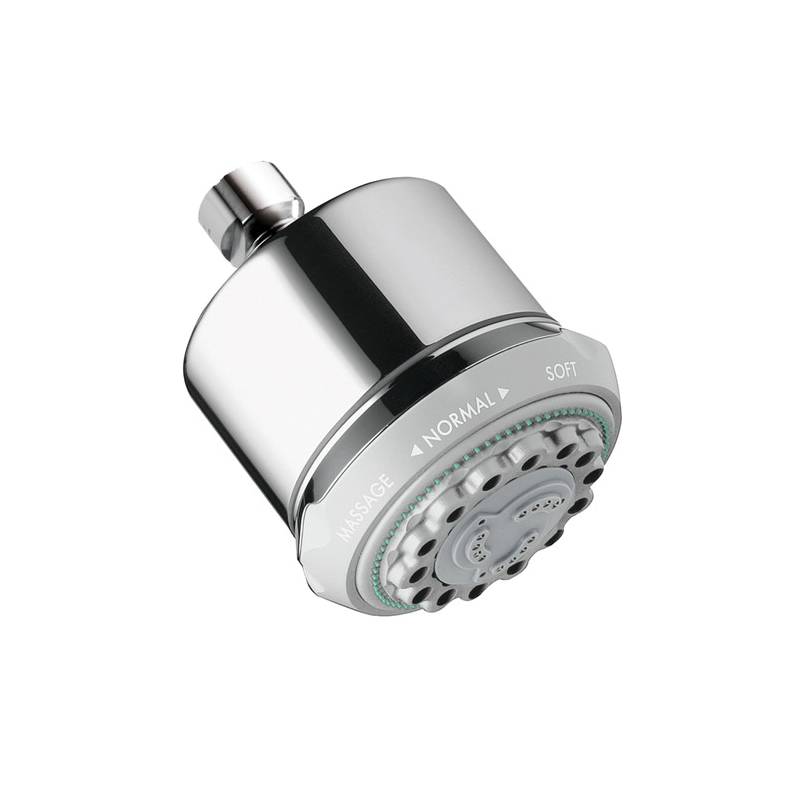 Hansgrohe 28496001 Clubmaster 3-Jet Shower Head, 2.5 gpm, 3 Sprays, Wall Mount, 3-5/8 in Dia x 4-5/8 in H Head