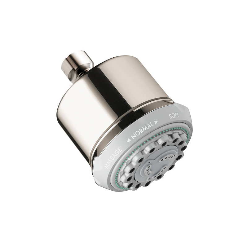 Hansgrohe 28496831 Clubmaster 3-Jet Shower Head, 2.5 gpm, 3 Sprays, Wall Mount, 3-5/8 in Dia x 4-5/8 in H Head