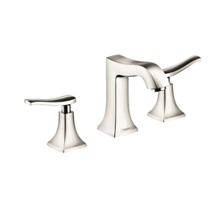 Hansgrohe 31073831 Metris C Widespread Bathroom Faucet, 1.5 gpm, 4 in H Spout, 8 in Center, Polished Nickel, 2 Handles, Pop-Up Drain, Import, Commercial