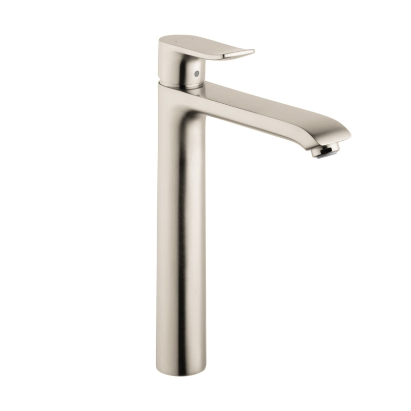 Hansgrohe 31082821 Metris 260 High Riser Bathroom Faucet, 1.5 gpm, 10 in H Spout, 1 Handle, Pop-Up Drain, 1 Faucet Hole, Brushed Nickel, Import, Commercial