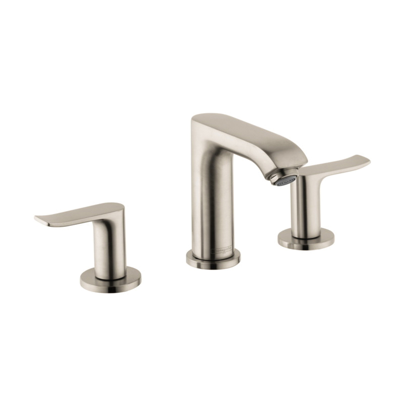 Hansgrohe 31083821 Metris E Widespread Bathroom Faucet, 1.5 gpm, 4 in H Spout, 8 in Center, Brushed Nickel, 2 Handles, Pop-Up Drain, Commercial