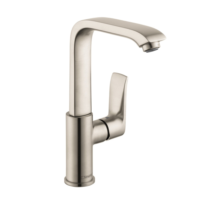 Hansgrohe 31087821 Metris 230 Bathroom Faucet, 1.5 gpm, 9 in H Spout, 1 Handle, Pop-Up Drain, 1 Faucet Hole, Brushed Nickel, Import, Commercial