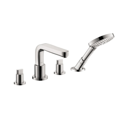 Hansgrohe 31446001 Metris S Roman Tub Set Trim, 5 gpm, 10 in Center, Chrome Plated, 2 Handles, Hand Shower Yes/No: Yes