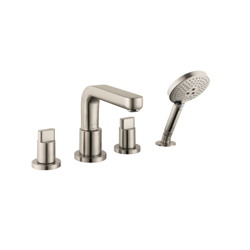 Hansgrohe 31446821 Metris S Roman Tub Set Trim, 5 gpm, 10 in Center, Brushed Nickel, 2 Handles, Hand Shower Yes/No: Yes