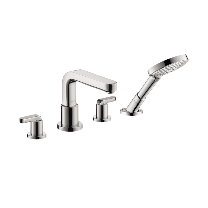 Hansgrohe 31448001 Metris S Roman Tub Set Trim, 5 gpm, 10 in Center, Chrome Plated, 2 Handles, Hand Shower Yes/No: Yes