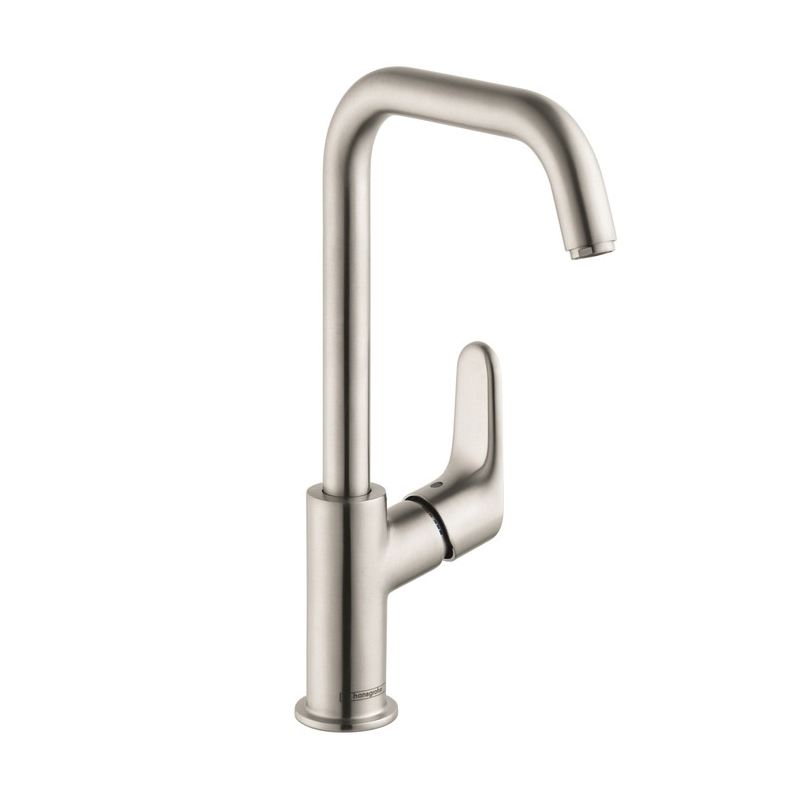 Hansgrohe 31609821 Focus 240 Tall Bathroom Faucet, 1.5 gpm, 9-1/4 in H Spout, 1 Handle, Pop-Up Drain, 1 Faucet Hole, Brushed Nickel, Commercial