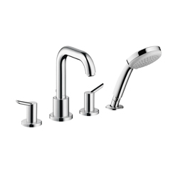Hansgrohe 31733001 Focus S Roman Tub Set Trim, 5 gpm, 10 in Center, Chrome Plated, 2 Handles, Hand Shower Yes/No: Yes