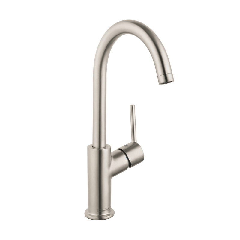 Hansgrohe 32082821 Talis S Bathroom Faucet, 1.2 gpm, 8-1/4 in H Spout, 1 Handle, Pop-Up Drain, 1 Faucet Hole, Brushed Nickel, Import, Commercial