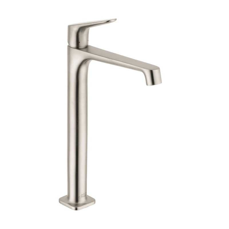 Hansgrohe 34120821 Axor Citterio M Tall Bathroom Faucet, 1.2 gpm, 9-7/8 in H Spout, 1 Handle, Pop-Up Drain, 1 Faucet Hole, Brushed Nickel, Commercial