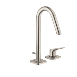 Hansgrohe 34132821 Axor Citterio M Bathroom Sink Faucet, 1.5 gpm, 6-1/8 in H Spout, 4 in Center, 1 Handle, Pop-Up Drain, Brushed Nickel, Import