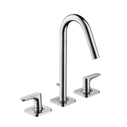 Hansgrohe 34133001 Axor Citterio M Widespread Bathroom Faucet, 1.2 gpm, 6-1/8 in H Spout, 8 in Center, Chrome Plated, 2 Handles, Pop-Up Drain, Commercial