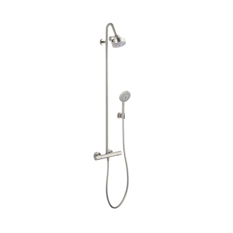 Hansgrohe 34640821 Axor Citterio M Shower Pipe, 4 Shower Head, 2.5 gpm, Full/Massage/Rain/Spray, Slide Bar: No, Brushed Nickel
