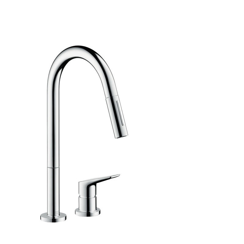 Hansgrohe 34822001 Axor Citterio M Pull-Down Kitchen Faucet, 2.2 gpm, 2 Faucet Holes, Chrome Plated, 1 Handle, Residential