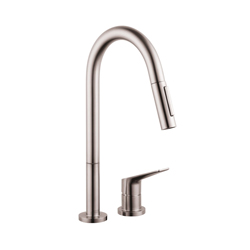Hansgrohe 34822801 Axor Citterio M Pull-Down Kitchen Faucet, 2.2 gpm, 2 Faucet Holes, Steel Optic, 1 Handle, Residential