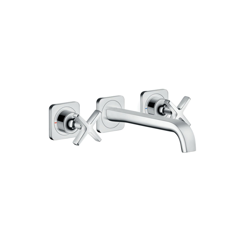 Hansgrohe 36107001 Axor Citterio E Widespread Faucet Trim, 1.2 gpm, 1-5/8 in H Spout, Chrome Plated, 2 Handles