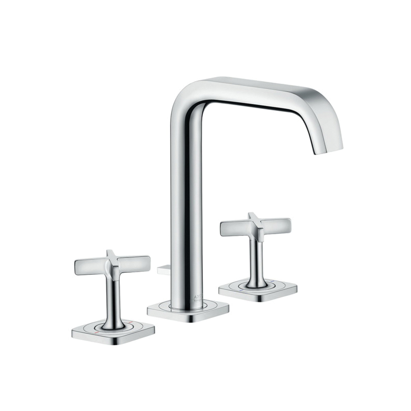 Hansgrohe 36108001 Axor Citterio E Widespread Bathroom Faucet, 1.2 gpm, 6-3/4 in H Spout, 8 in Center, Chrome Plated, 2 Handles, Pop-Up Drain, Import