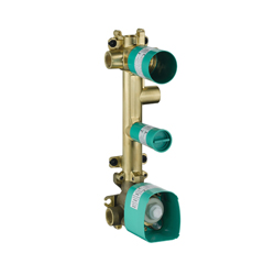 Hansgrohe 36708181 Axor Citterio E 3-Function Thermostatic Rough Module, G 3/4 NPT Inlet x G 3/4 NPT Outlet, 7 gpm, Brass Body, Import