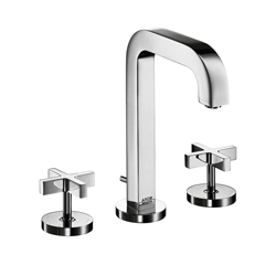 Hansgrohe 39133001 Axor Citterio M Widespread Bathroom Faucet, 1.2 gpm, 6-9/16 in H Spout, 8 in Center, Chrome Plated, 2 Handles, Pop-Up Drain, Commercial