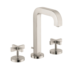 Hansgrohe 39133821 Axor Citterio M Widespread Bathroom Faucet, 1.2 gpm, 6-9/16 in H Spout, 8 in Center, Brushed Nickel, 2 Handles, Pop-Up Drain, Commercial