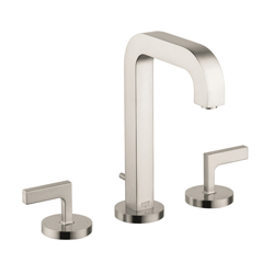 Hansgrohe 39135821 Axor Citterio M Widespread Bathroom Faucet, 1.2 gpm, 6-9/16 in H Spout, 8 in Center, Brushed Nickel, 2 Handles, Pop-Up Drain, Commercial
