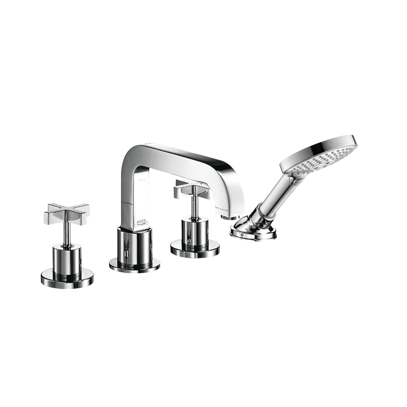 Hansgrohe 39453001 Axor Citterio Roman Tub Set Trim, 5 gpm, 4.38 in Center, Chrome Plated, 2 Handles, Hand Shower Yes/No: Yes, Import