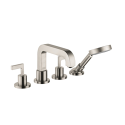 Hansgrohe 39454821 Axor Citterio Roman Tub Set Trim, 5 gpm, 4.38 in Center, Brushed Nickel, 2 Handles, Hand Shower Yes/No: Yes, Import