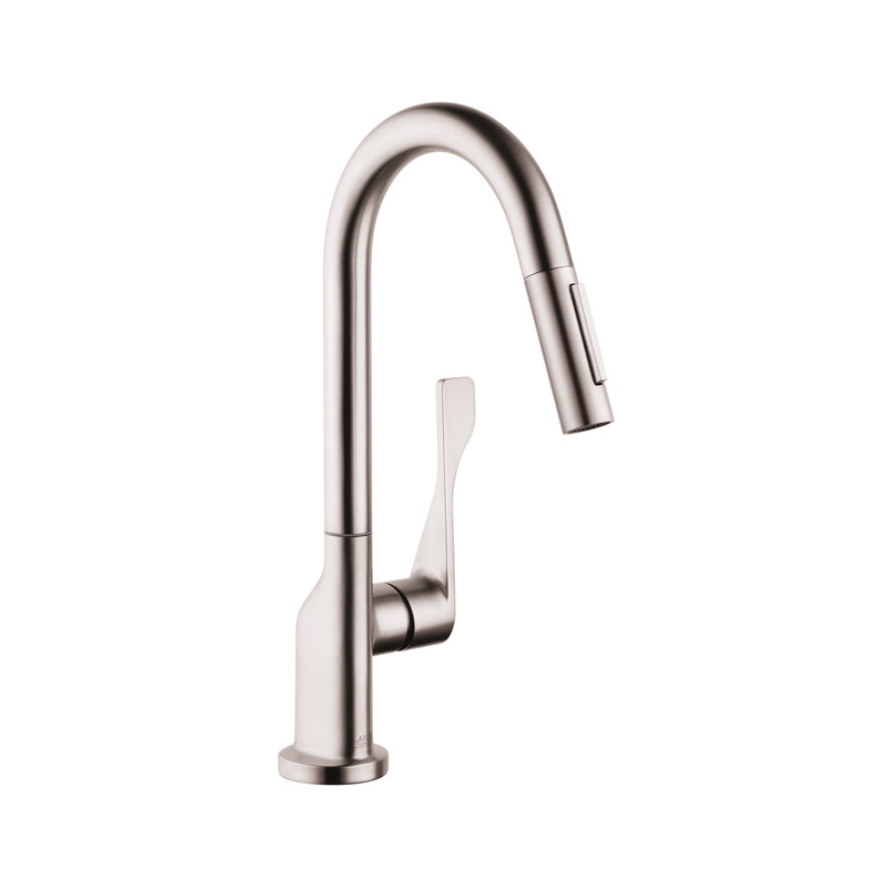 Hansgrohe 39836801 Axor Citterio Pull-Down Prep Kitchen Faucet, 1.5 gpm, Steel Optik, 1 Handles, Residential