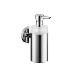 Hansgrohe 40514000 Logis S/E Soap Dispenser, 8 oz, Wall Mount, Brass/Plastic, Chrome Plated