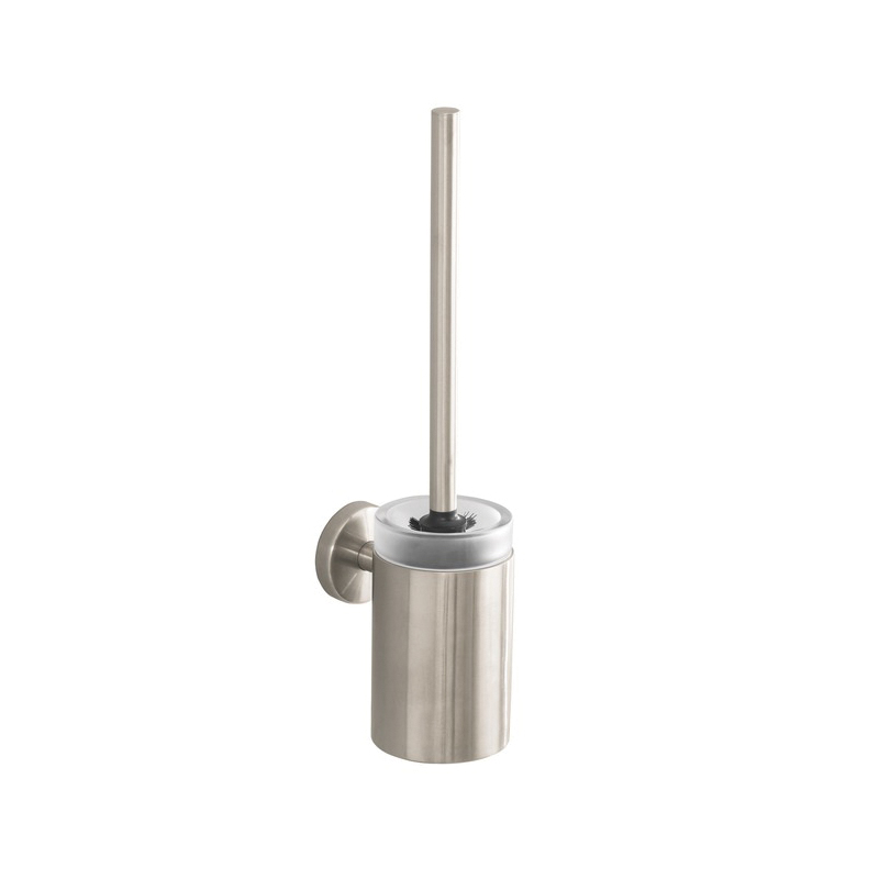 Hansgrohe 40522820 Logis S/E Toilet Brush With Holder, 15-1/4 in H, Brass/Crystal Glass, Brushed Nickel