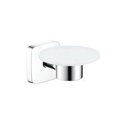 Hansgrohe 41502000 PuraVida Soap Dish, 3-1/8 in H, Brass/Ceramic, Chrome Plated