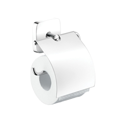 Hansgrohe 41508000 PuraVida Toilet Paper Roll Holder With Cover, Brass, Chrome Plated