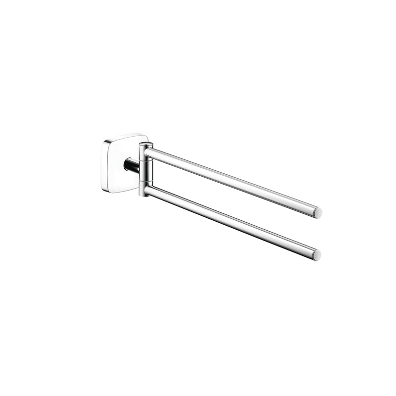 Hansgrohe 41512000 PuraVida Wall Mount Twin Towel Bar Holder, 3-1/8 in OAH, Solid Brass