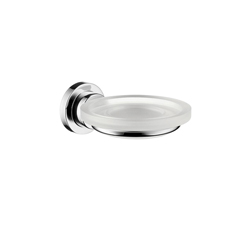 Hansgrohe 41733000 Axor Citterio Soap Dish With Solid Brass Holder, 5-5/8 in D x 2-1/8 in H, Crystal Glass, Chrome Plated