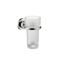 Hansgrohe 41734000 Axor Citterio Tumbler and Holder, 5-3/8 in H, Crystal Glass/Solid Brass, Chrome Plated, Import