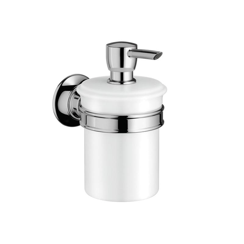 Hansgrohe 42019000 Axor Montreux Soap Dispenser, 8 oz, Wall Mount, Porcelain, Chrome Plated