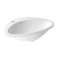 Hansgrohe 42310000 Axor Massaud Bathroom Sink, Oval, 23 in W x 18-1/2 in D, Drop-In Mount, Cast Marble, Chrome Plated, Import