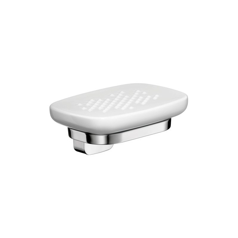 Hansgrohe 42433000 Axor Urquiola Soap Dish With Solid Brass Holder, 5 in W x 5 in D x 2-3/8 in H, Opaque Glass, Chrome Plated