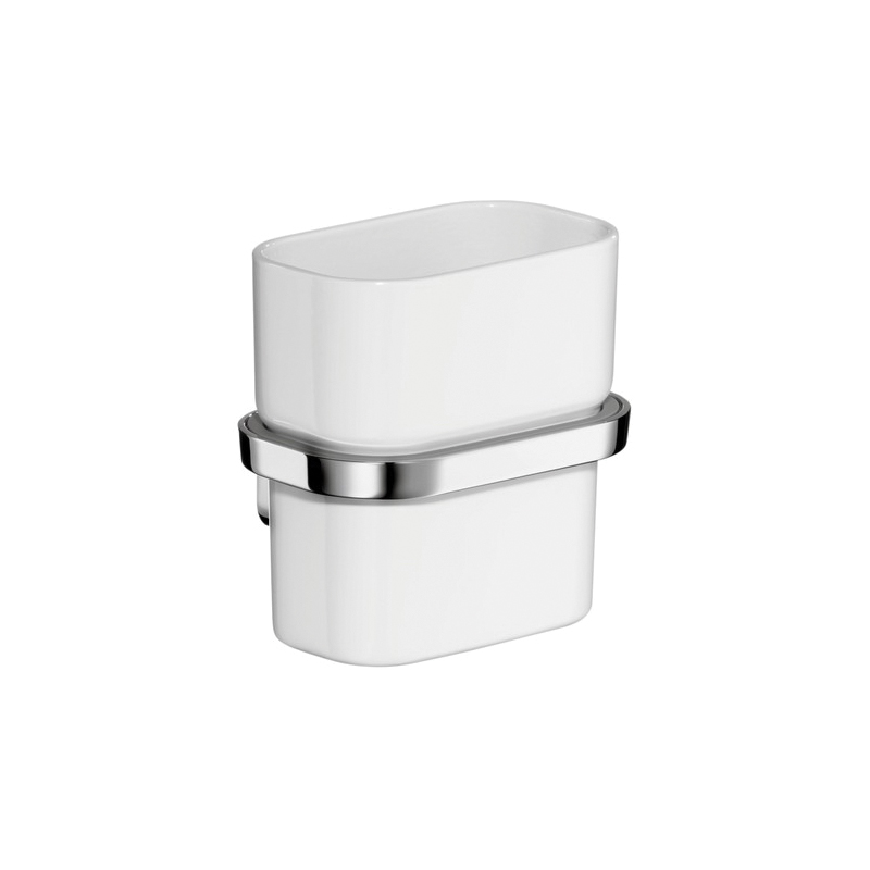 Hansgrohe 42434000 Axor Urquiola Tumbler and Holder, Opal Glass/Solid Brass, Chrome Plated