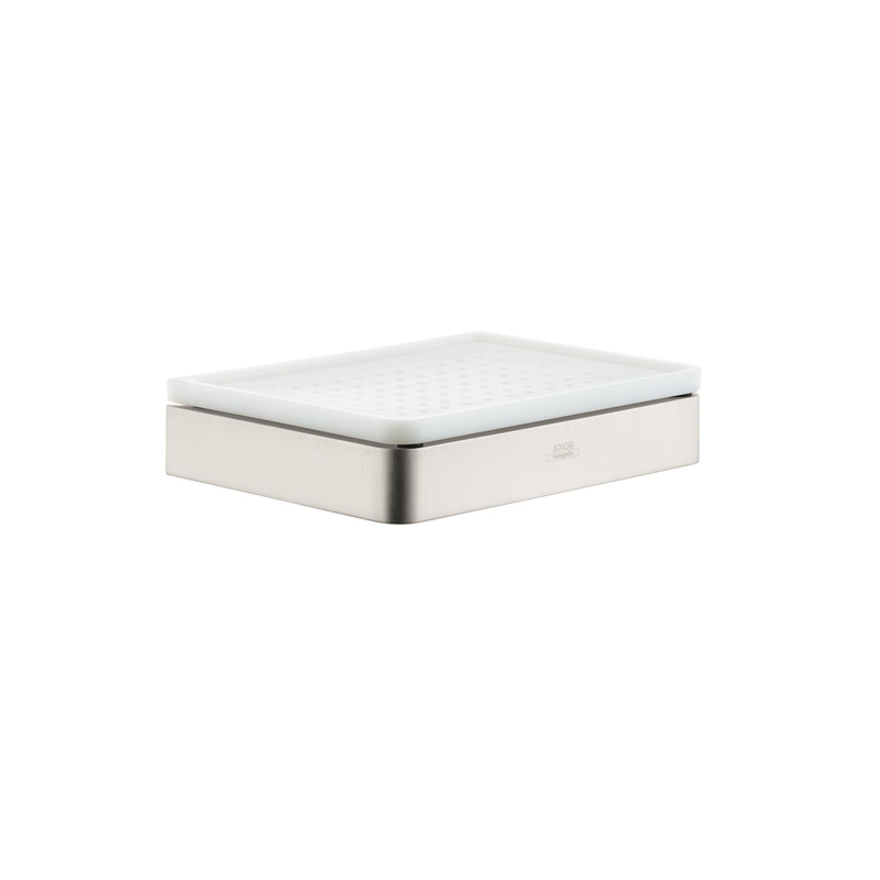 Hansgrohe 42803820 Axor Universal EU Version Soap Dish, 5-7/8 in W x 4-3/8 in D x 1-1/4 in H, Glass/Metal, Brushed Nickel, Import