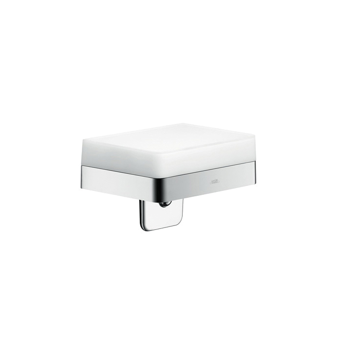 Hansgrohe 42819000 Axor Universal EU Version Soap/Lotion Dispenser With Integrated Shelf, 180 mL, Wall Mount, Glass/Metal/Brass, Chrome Plated
