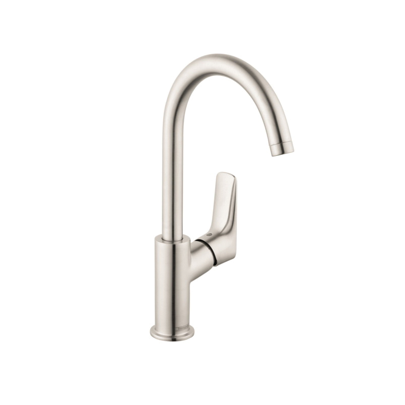 Hansgrohe 71130821 Logis 210 Bathroom Faucet, 1.2 gpm, 8-3/4 in H Spout, 1 Handle, Pop-Up Drain, 1 Faucet Hole, Brushed Nickel, Domestic
