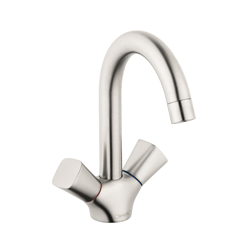 Hansgrohe 71222821 Logis 150 Bathroom Faucet, 1.2 gpm, 5-3/4 in H Spout, 2 Handles, Pop-Up Drain, 1 Faucet Hole, Brushed Nickel, Domestic