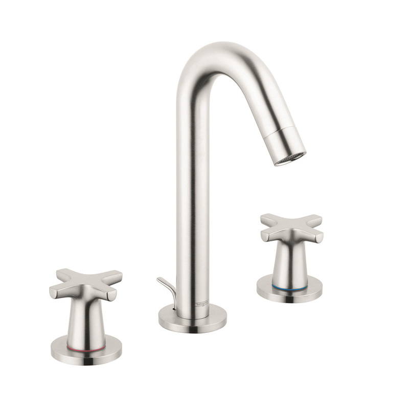 Hansgrohe 71323821 Logis Classic Widespread Bathroom Faucet, 1.2 gpm, 6 in H Spout, 8 in Center, Brushed Nickel, 2 Handles, Pop-Up Drain, Domestic